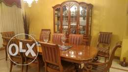 American Wood Dinning set - table, 10 chairs and cabinet