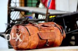 Vintage style Leather Duffle Bag