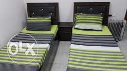 Twin Bed-set with Mattress, Six-door Wardrobe and Dressing Table