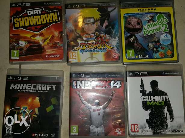 PS3 Without controllers 6 games hdmi cable سوني 3 بدون يد مع 6 العاب