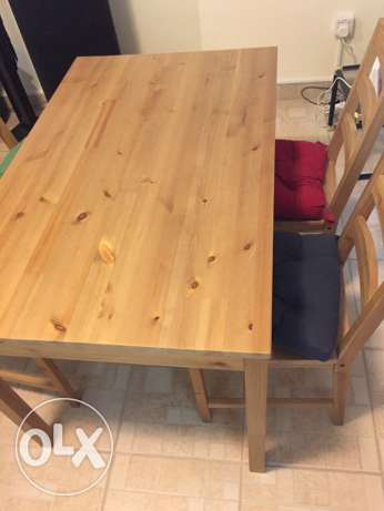 wooden table antique stain Ikea +4chair+4cushion different color