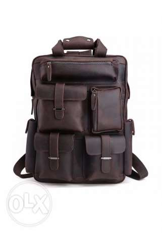 Wild bull Leather Vintage style Leather laptop office campus backpack