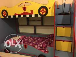 kids bed double with staircase & slider