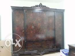 King size bed (without matress) wuth side tables and wardrobe