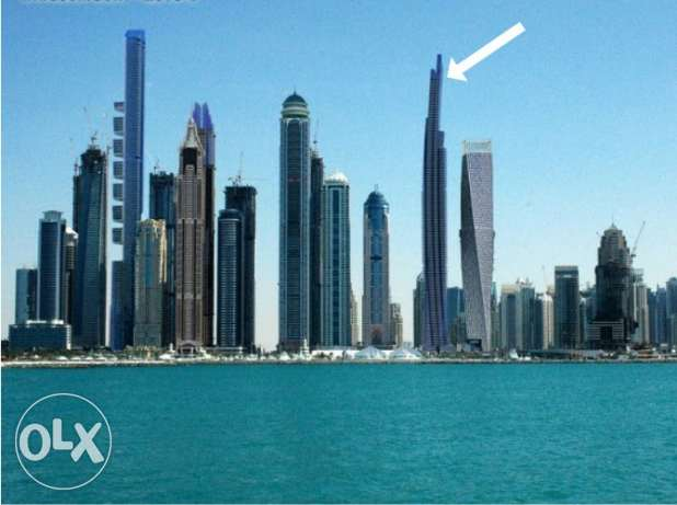 damac heights in marina of dubai sea and palm view