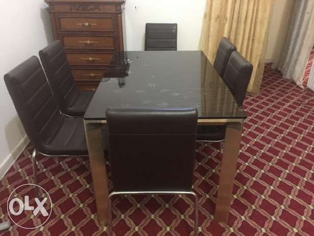 Designer Glass Top Dining Table - 6 seating