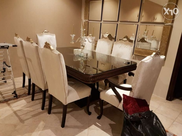 Royal Dining Table with 8 Velvet Chairs for Sale
