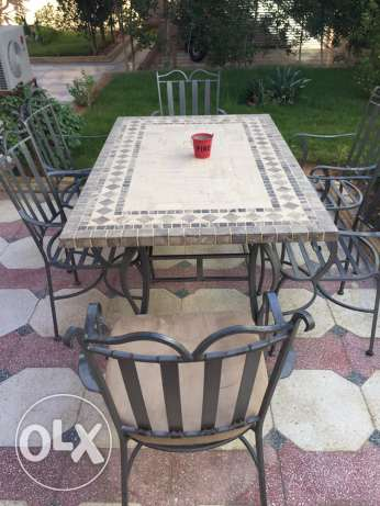 garden table with chair (steel forgee)