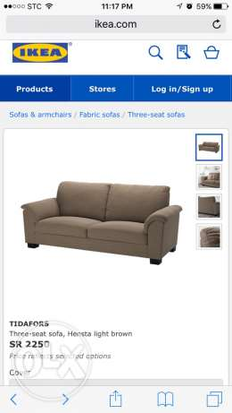 Three seat sofa as good as new for 1250sr