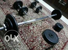 Dumbells, Barbell and bench.