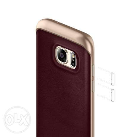 Galaxy S7 Edge Case, Classic Rich Texture Leather Cherry Oak