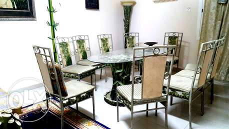 SAR 1100 / bamboo style dinning Table 10 seater with all stuffs