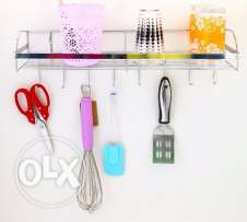 Kitchen Metal Rack and Hooks at bottom for hanging
